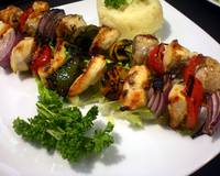 Grilled chick kabob plater