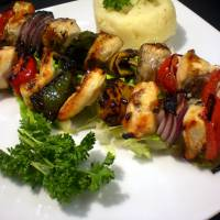 Grilled chick kabob plater Art Prints & Posters by ecazphoto