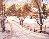 Snowy Drive, watercolor painting