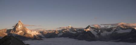 Panoramic view of the Matterhorn at sunrise