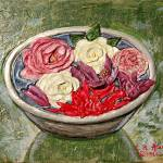 """Begonias, Gardenias and Roses in Silver Bowl Paint"" by catnip009"