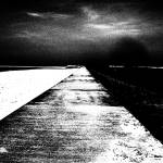 """Sea Wall Vanishing Point (Black and White)"" by Barbara_Stock"
