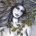 """""""aceo original  nude pretty with leaves001.jpg read"""" by danielletheartiste"""