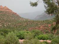 Rain coming down valley at Sedona