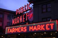 Public Market Sign at Dark