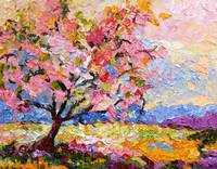 Pink Blossom Tree Oil Painting by Ginette Callaway