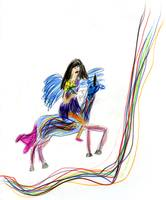 'A Fairy riding her unicorn'