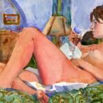 """""""Green Drapes, Nude Female Art"""" by schulmanart"""