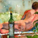 """WineBottle, Male Nude Art"" by schulmanart"