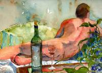 WineBottle, Male Nude Art