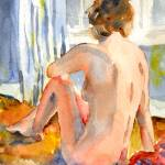 """Sun Bather, Nude Female Art"" by schulmanart"