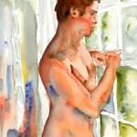 """Looking Out, Male Nude Art"" by schulmanart"