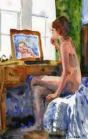 Putting On Lipstick, Nude Female Art