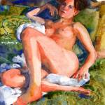 """Green Bed Spreads, Nude Female Art"" by schulmanart"