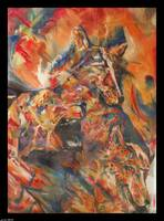 Three Wolves 1998 oil