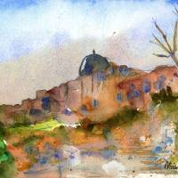 Jerusalem watercolor painting Art Prints & Posters by Miriam Schulman