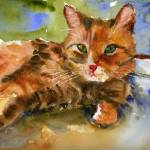 """Cat King, Watercolor Painting Animal Orange Ginger"" by schulmanart"