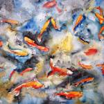 """Dark Waters, Watercolor Painting Koi Carp Fish Art"" by schulmanart"