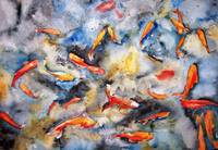 Dark Waters, Watercolor Painting Koi Carp Fish Art