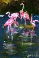 Flamingo Fun, OIl Painting Pink Flamingos Tropical