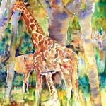 """Giraffe Park, Abstract Watercolor Painting"" by schulmanart"