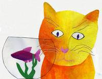 'Cat and Goldfish Bowl'