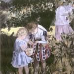 """Girls Picking Berries 1960"" by RoseanneCarter"
