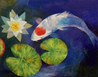 Tancho Koi and Water Lily