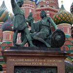 """Bronzed Statue at St. Basil"