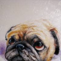 """PUG LOVE M BALDWIN ORIGINAL ART"" by MBaldwinFineArt2006"