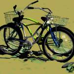 """Bikes on the Beach 1 green and blue"" by LeslieTillmann"