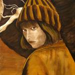 """""Girl in Brown and Gold"" original acrylic painting"" by marnold"
