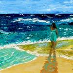 """""Girl on the Beach"" original acrylic painting"" by marnold"