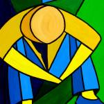 """""Man in Blue Green and Yellow"" orignal acrylic pai"" by marnold"