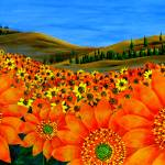 """""Sunflower Field"" original acrylic painting"" by marnold"