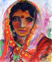 Indian Woman with Red Bindi Mixed Media Painting b