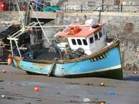 Blue trawler in Tenby harbour