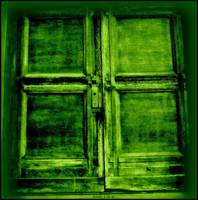 a green cross door