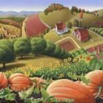 """""""folk art country farm landscape pumpkin patch"""" by walt-curlee"""