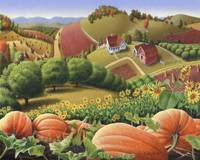 folk art country farm landscape Life pumpkin patch