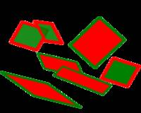 Sheets of scattered glass in red and green.