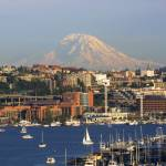 """Seattle Lake Union and Mt Rainier"" by timknight"