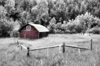 Colorado Red Barn on BW