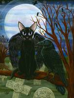 Raven's Moon ; Gothic Cat Crow