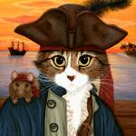 """Captain Leo ; Pirate Cat Rat Sunset"" by tigerpixie"