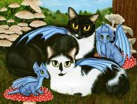Nami & Rookia's Dragons ; Winged Cats Mushrooms