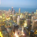 """Chicago Downtown in night from Sears Towers"" by gana"