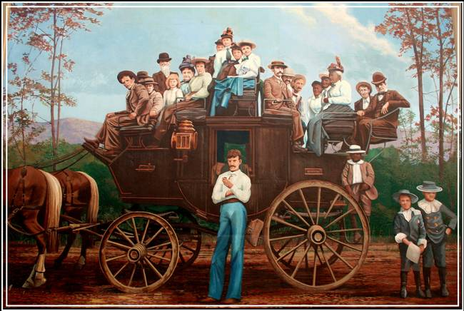Western stagecoach wall mural by sherry corriell for Cowboy wall mural