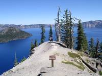 Crater Lake from Rim Drive with Wizard Island on t