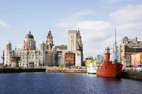 Liver buildings, dock and boats